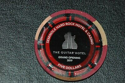 GUITAR HOTEL Hollywood Fl Hard Rock Casino Grand Opening $5 Chip LIMITED EDITION