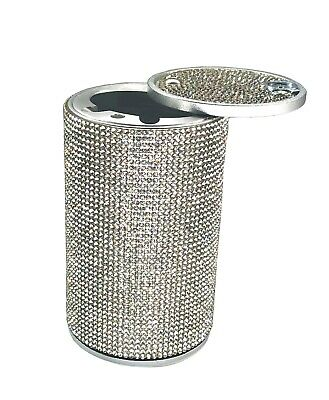 Aluminum Car Ashtray Crystal Diamond Cigarette Smokeless Cup Holder Fireproof