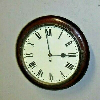 Antique English G.p.o. Post Office Chain Fusee 8 Day Wall Clock England Working