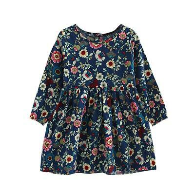 Children Girl Cute Flowers Print Long Sleeve Pleated Dress Princess Clothes NEW