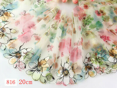 """8""""*1yard Delicate Embroidered flower tulle Lace Trim sewing Craft DIY 816"""