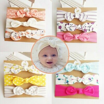 Baby Girls Kids Bow Hairband Headband Stretch Turban Knot Toddler Head Wrap UK
