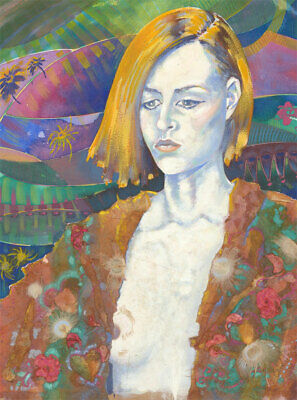 Cheryl Porter - 2000 Mixed Media, Psychedelic Portrait of a Woman