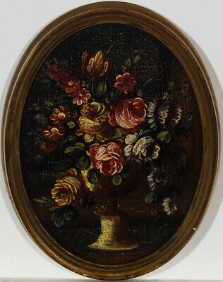 Oval Framed Early 20th Century Oil - Floral Chalice Arrangement