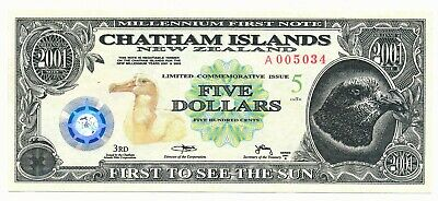 2001 Chatham Islands New Zealand $5 5 Dollars UNC Note Millennium 1st Note RARE