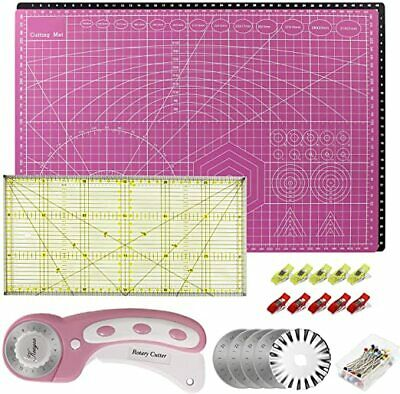 A3 Cutting Mat Rotary Cutter  Spare Blade Patchwork Ruler Clips Pins Pink Black