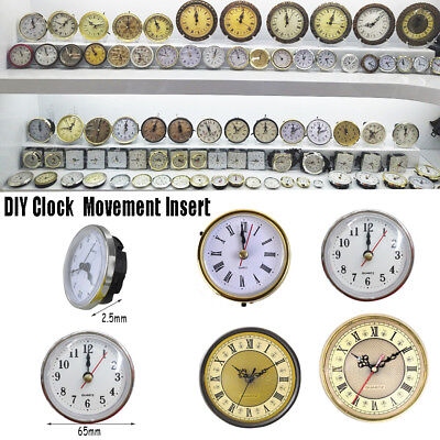 Clock Quartz Mechanism Movement Insert Roman Numeral White Face Gold Trim
