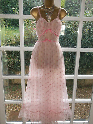 Vintage 60/70s Double Layer Ultra Sheer Nylon Lacy Nightie Nightdress Gown 36""