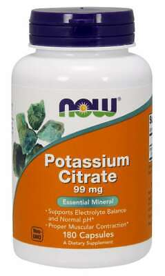 NOW FOODS Potassium Citrate 99mg (non-GMO) 180 Capsules FREE SHIPPING