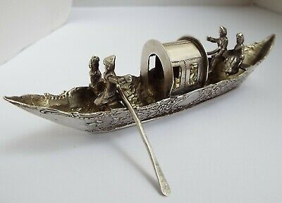 Beautiful Large Rare English Antique 1904 Sterling Silver Novelty Miniature Boat