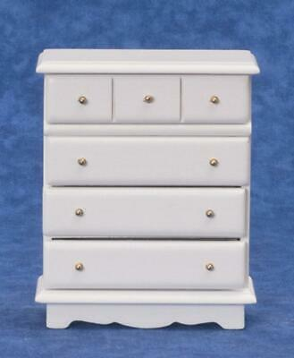 Dolls House White Chest of Drawers Miniature 1:12 Wooden Bedroom Furniture