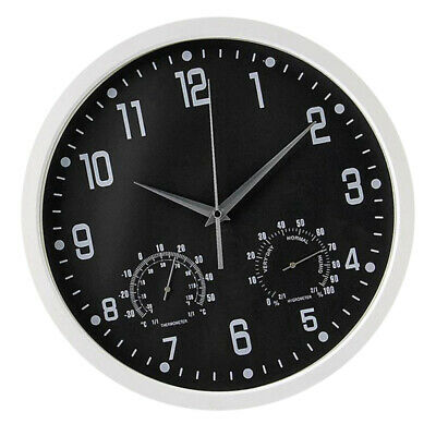 14inch Wall Clock Round Dial Temperature Humidity Display Quartz Clock