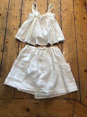 Zara White Skirt & Top Lined Pockets Age 10