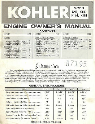 Kohler K91  K141 K161 K181  Engines Owner's  Manual