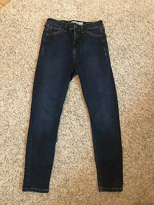 Ladies Topshop Jamie Jeans Dark Denim W30 L30 Size 12 High Waist Skinny Stretch