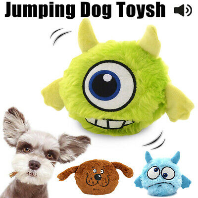Pet Dog Interactive Plush Giggle Ball Automatic Jumping Shake Squeak Chew Toys