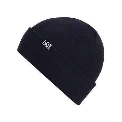 BlackStrap Essential Flip Tag Acrylic Beanie Navy Blue New