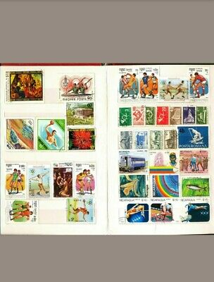 Premier 300 Stamp Album stock book with 200 All Different World wide Stamps lot
