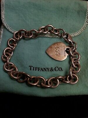 Tiffany & Co Sterling Silver Heart Tag  Bracelet Authentic 8.5 inches #S30/13