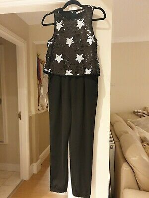 Bnwot M&S Girls Jumpsuit Black Seqinned Top With Silver Stars Age 12-13 Years