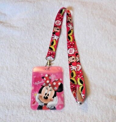 NEW Unwanted ID CARD BADGE PASS HOLDER + Lanyard MINNIE MOUSE DISNEY Gift C