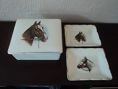 Vintage Equestrian Staffs Pottery Lidded Trinket Box And Two Pin/Dresser Trays.