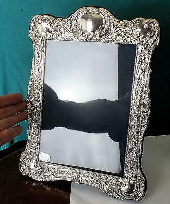 """310mm 12"""" Large Finely Embossed Solid Silver Photo Frame - Bham 1996 - SS"""