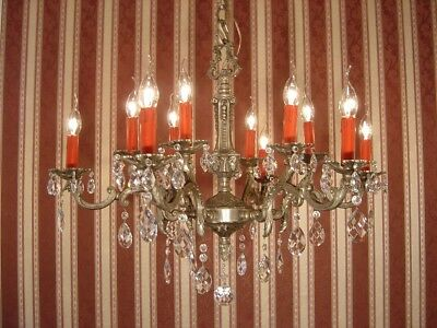Nickel Silver Crystal Old French Chandelier Stylish 12 Lights Heavy Lamp
