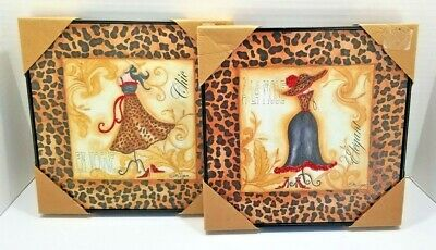 2 EN VOGUE French Chic Wall Arts Animal Print Trim African Signed Lorilynn