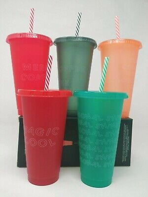 Starbucks 2019 Reusable Cold Cups Lids & Straws 5 Pack Holiday Christmas 24oz