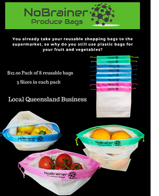 NoBrainer Reusable Fruit & Vegetable Produce Bags Grocery Eco Mesh 8 Pack