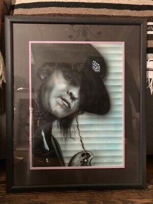 Framed And Matted Portrait Painting Of Blues Legend Stevie Ray Vaughn