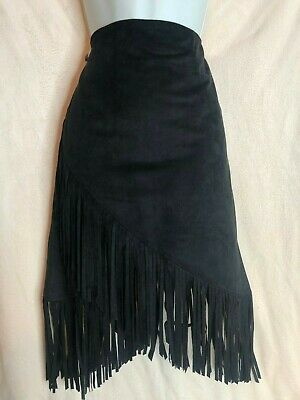New Lulus S Small Black Faux Suede Fringe Asymmetric Skirt Super Soft Material