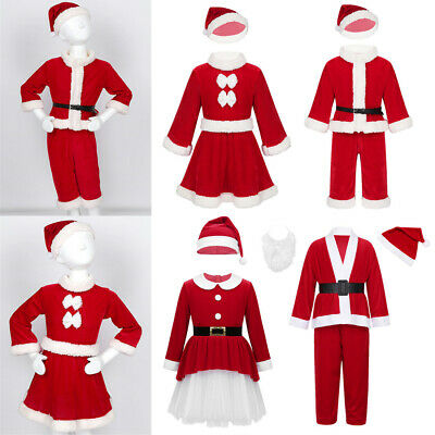 Kids Baby Boy Girl Santa Claus Costume Christmas Party Xmas Fancy Dress+Hat Set