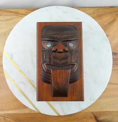 Vintage Hand Carved Wooden New Zealand Maori Tiki Box with Paua Shell Eyes