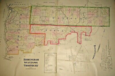 Birmingham Westtown Thornbury Township Chester County Pa 1883 Large Color Map