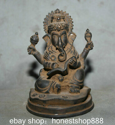 12CM Old Tibet Bronze Gilt Temple 4 Arms Ganesha Elephant Buddha Book statue