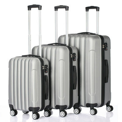 3Pcs ABS Trolley Carry On Travel Luggage Set Bag Spinner Suitcase w/Lock Grey