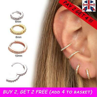 1PC Helix Cartilage Tragus CZ Ear Piercing Daith Conch Hoop Earring Nose Ring UK