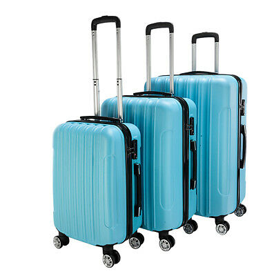 3PCS Luggage Set Carry On Trolley Suitcase Travel Spinner ABS+PC w/Cover Blue