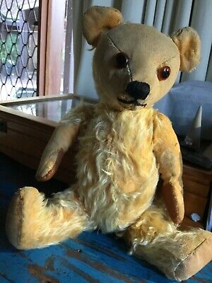 Vintage antique teddy bear Mohair glass eyes 37cm fully jointed collectable