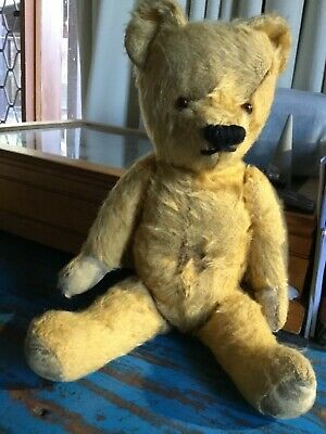 Vintage antique teddy bear Mohair 35cm tall fully jointed collectable
