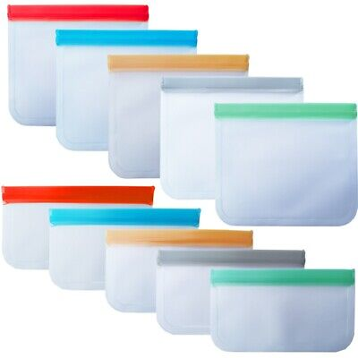 12PCS Fresh Food Freezer Zip Lock Bag Reusable Silicone Storage Lunch Sandwich