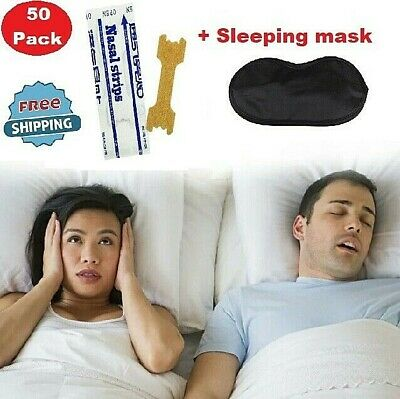 NEW 50 Pcs Nasal Strips Stop Snoring Anti Snoring Patches Sleeping Aid WITH MASK