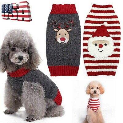 Puppy Pet Dog Cat Clothes Winter Warm Sweater Christmas Costume Pet Supplies US