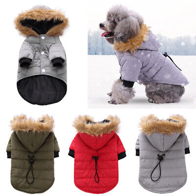 Pet Small Dog Puppy Waterproof Warm Coat Jacket Hoodie Thick Clothes Apparel UK