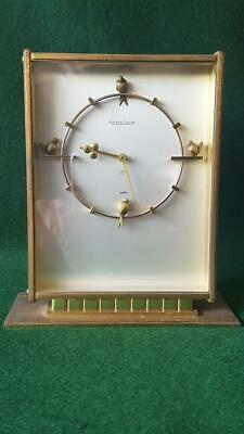 Rare 1950s Jaeger-LeCoultre Brass Cased 8 Day Table Clock w Bird Figural Markers