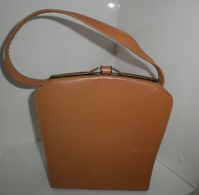 1950s TOP GRAIN HIDE CARAMEL COLOUR HANDBAG GOLD CLIP CLOSURE/FRAME