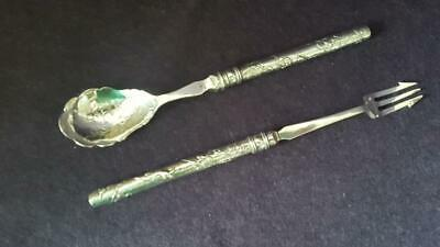 First Rate Antique Chinese Export Sterling Silver 2 Pc Relish & Pickle Set 68g