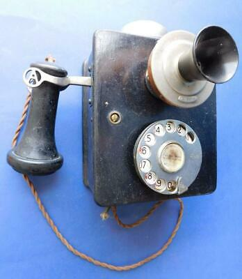 Antique Wall Telephone AUTOMATIC ELECTRIC CO. Black Wooden Box Phone 1900s
